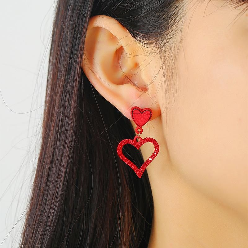 Heart-shaped ear jewelry beautiful red love peach heart hollow earrings earrings women NHKQ194146