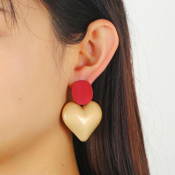 Big Peach Heart Acrylic Earrings Vintage Court Stud Earrings NHKQ194149