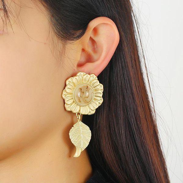 Flower earrings explosion models plant earrings long alloy earrings wholesale NHKQ194152