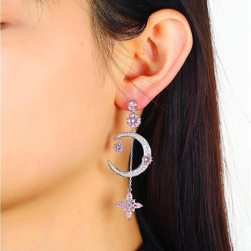 Symmetrical Large Zircon Earrings Korean Fashion Crystal Pendant Earrings Wholesale NHKQ194172