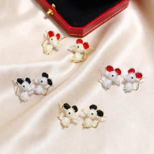 s925 sterling silver ear stud rat new year cute red mouse earrings new NHKQ194173's discount tags