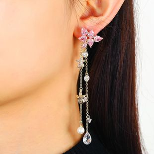 New colored diamond earrings fringed long zircon super fairy Korean earrings women NHKQ194179's discount tags