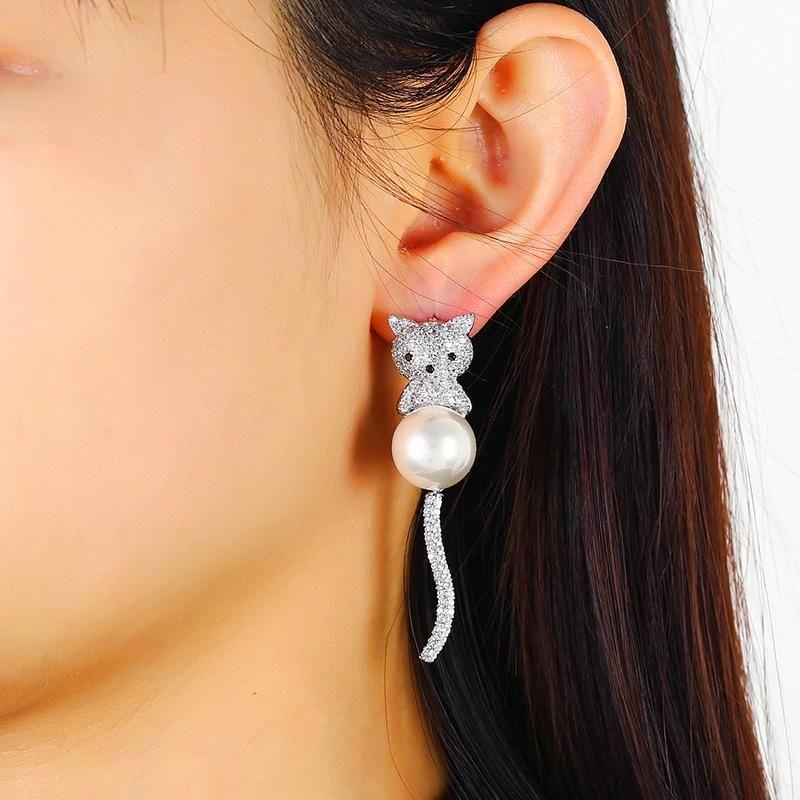 S925 Silver Korean Asymmetrical Tassel Long Stud Earrings Animal Girl Earrings Wholesale NHKQ194182