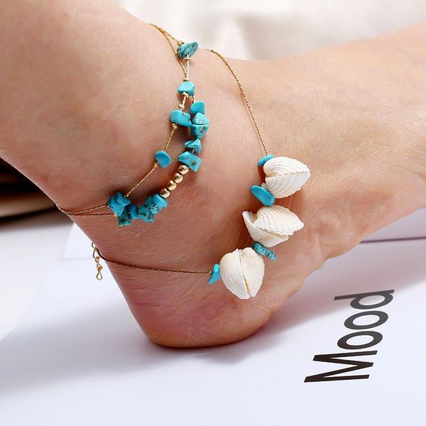 Creative retro beach sequin shell beads push anklet NHKQ194185