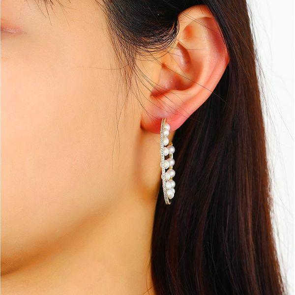 Fashion Jewelry Ear Green Pearl Earrings Female High-end Semi-circular Fan-shaped Jewelry Wholesale NHKQ194195