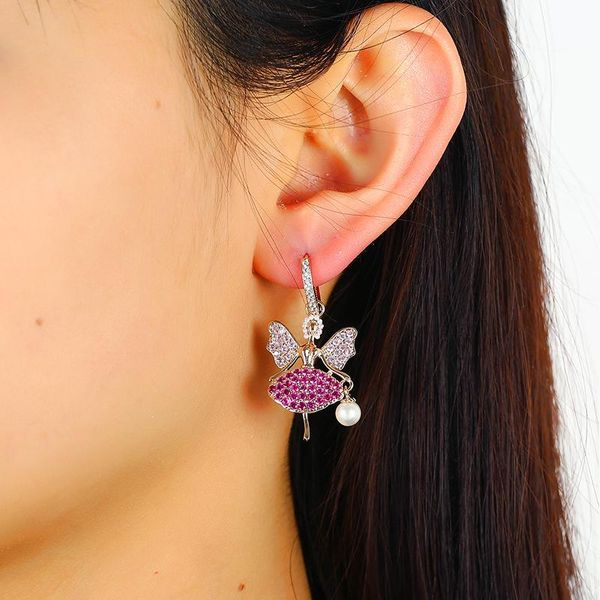 Korean Fashion Jewelry Fashion Handmade Crystal Zircon Dancer Earrings New Earrings Wholesale NHKQ194199