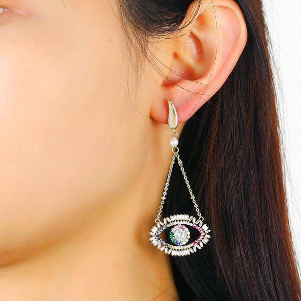 Devil's Eye Earrings Tassel Diamond Turkey Blue Eye Studs Wholesale NHKQ194209