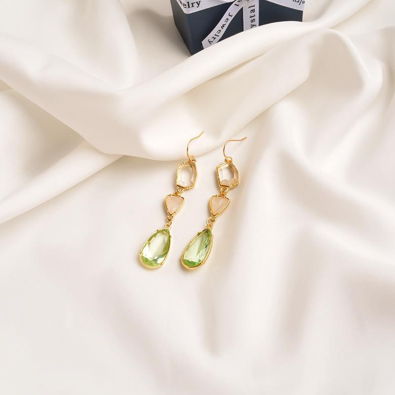 Long crystal earrings  tassel earrings personalized ear hooks NHWF194220