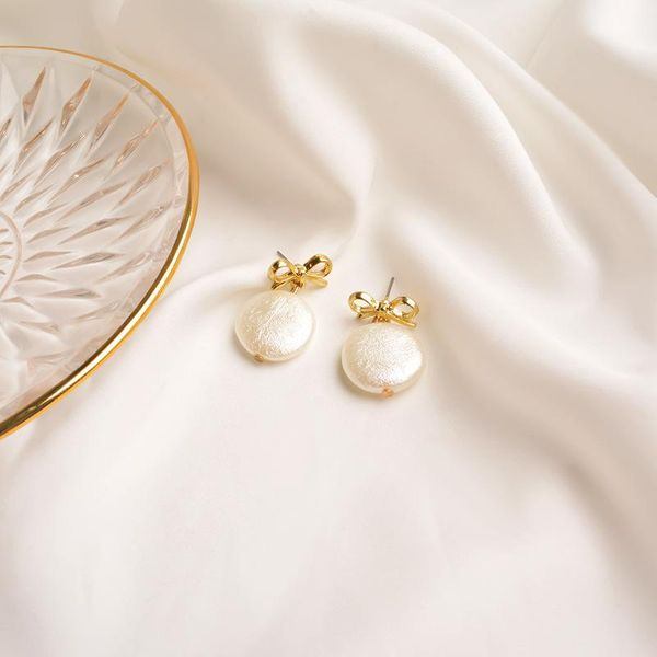 New earrings  personality metal stud pearl pendant NHWF194221