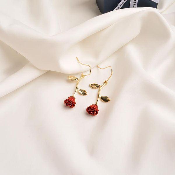 Vintage Rose Earrings  Red Flowers French Earrings NHWF194222