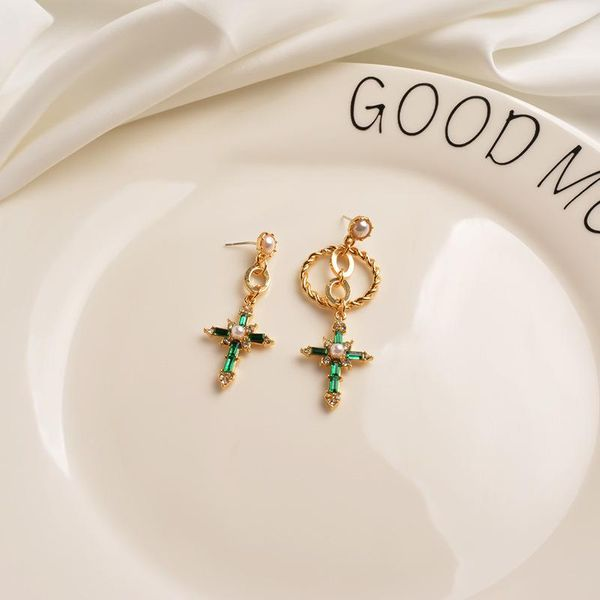 925 silver pin earrings  hollow circle ear pin emerald asymmetric personality earrings NHWF194231