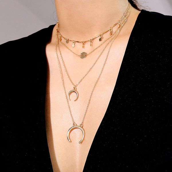 Fashion jewelry retro minimalist sexy V-neck necklace rhombus sequins fringed multi-layered item women NHXR194251