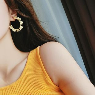 925 Silver Needle Korean Fashion Pearl Flower Round Earrings Simple Exaggerated Solid Color Stereo Flower Ear Hoop Earrings NHMS194259's discount tags