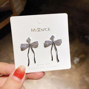 925 Silver Pin Korean Elegant Micro Set Zircon Bow Earrings NHMS194282's discount tags
