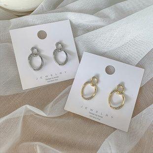 925 Silver Needle Simple Oval Circle Flash Diamond Stud Earring Earring Temperament Wild Geometry Female Earring Korean New Trend NHMS194287's discount tags