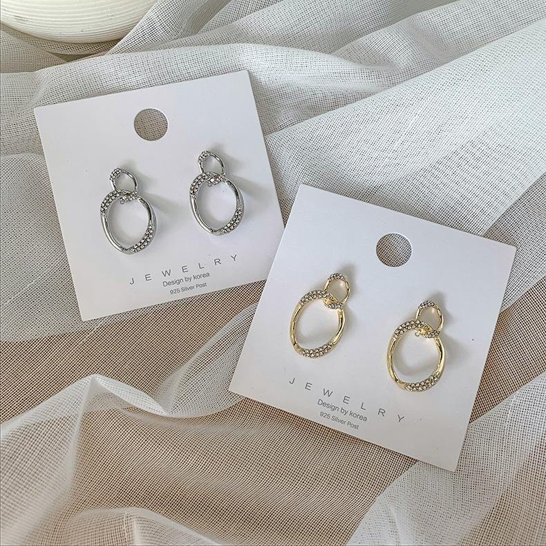 925 Silver Needle Simple Oval Circle Flash Diamond Stud Earring Earring Temperament Wild Geometry Female Earring Korean New Trend NHMS194287
