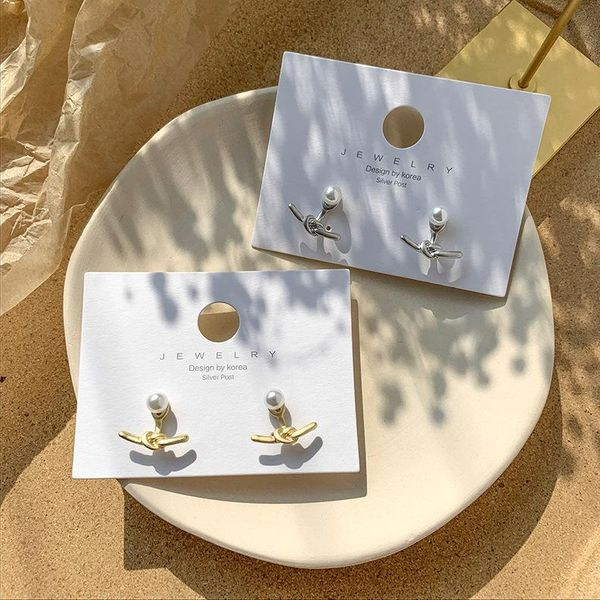 925 silver pin cold wind retro art metal knot buckle pearl earrings Korean new knot earrings earrings female NHMS194288