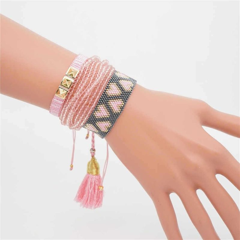 Women's Bracelet Hand-Knitted Love Crystal Stud Jewelry NHGW194309