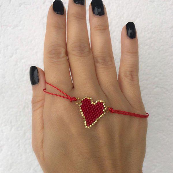 Red love braided bracelet ladies jewelry classic popular red friendship rope NHGW194346