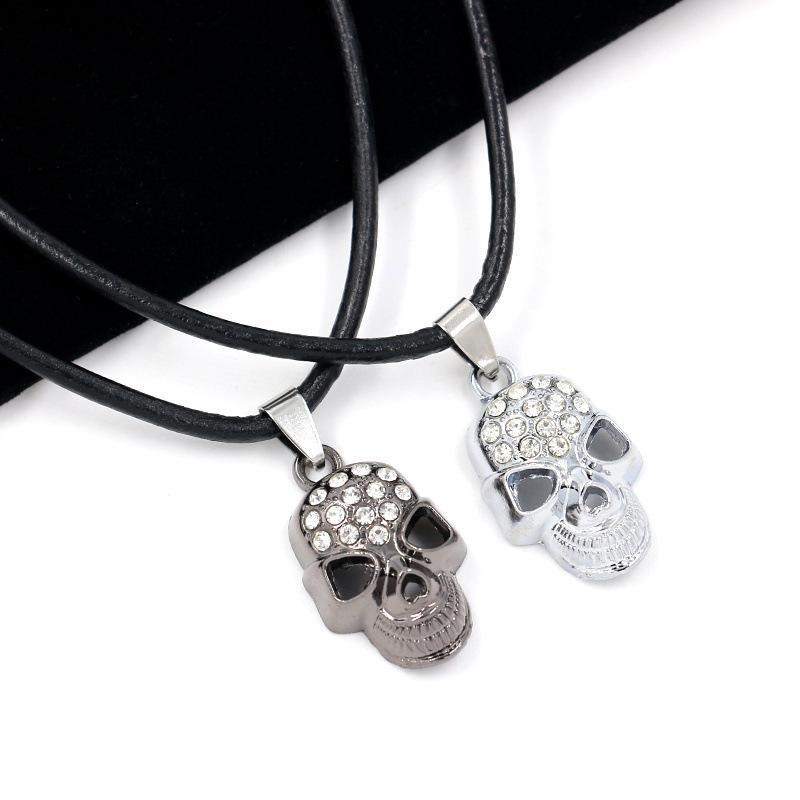 Leather rope necklace diamond skull couple necklace wholesale NHHM194382
