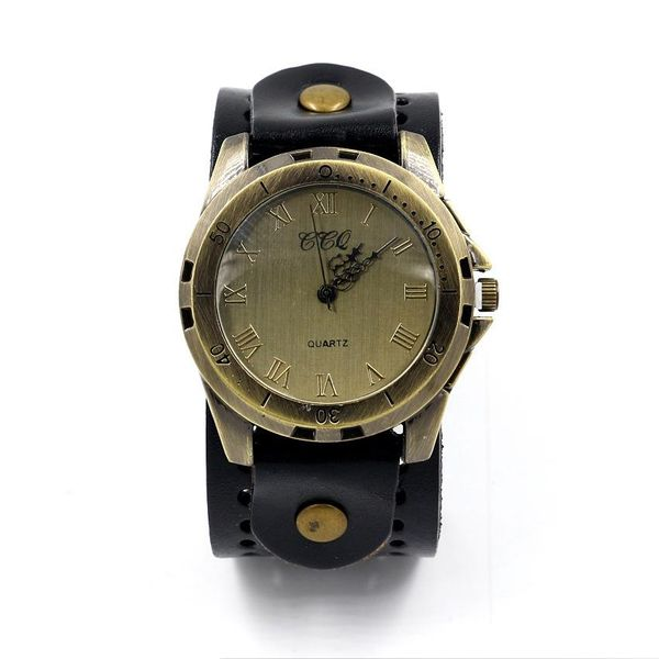 Fashion Watch Retro Large Dial Leather Strap Quartz Watch Men's Student Watch NHHM194390