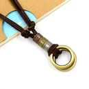 Bronze alloy doubleloop leather rope necklace adjustable casual Korean fashion leather rope sweater chain pendant NHHM194392