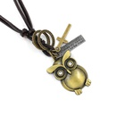 Vintage leather rope necklace female cartoon owl pendant woven leather necklace long sweater chain accessories NHHM194393