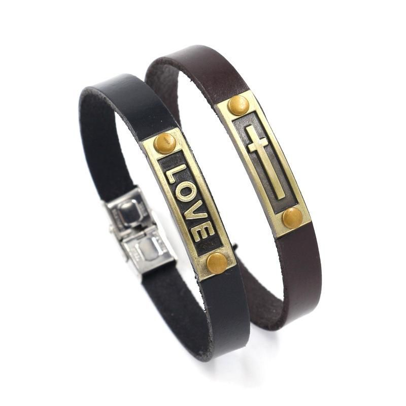 Simple stainless steel buckle men's bracelet alloy love cross leather bracelet fashion gift NHHM194397