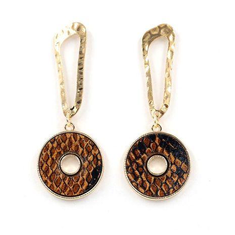 Nouvelles boucles d'oreilles en cuir de peau de serpent NHHM194398's discount tags