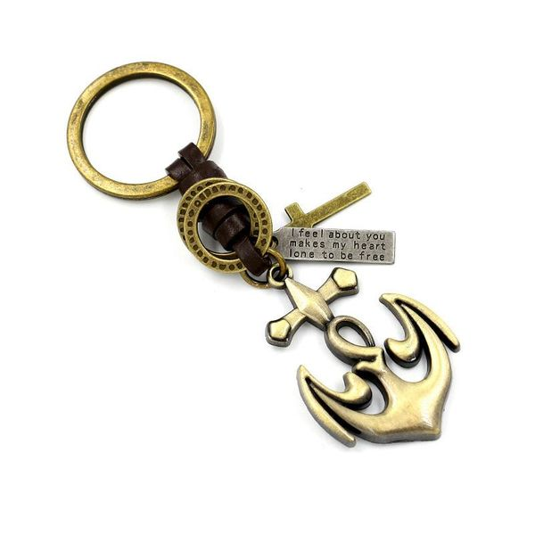 Bronze brushed anchor pendant key pendant leather woven creative small gift wholesale NHHM194407