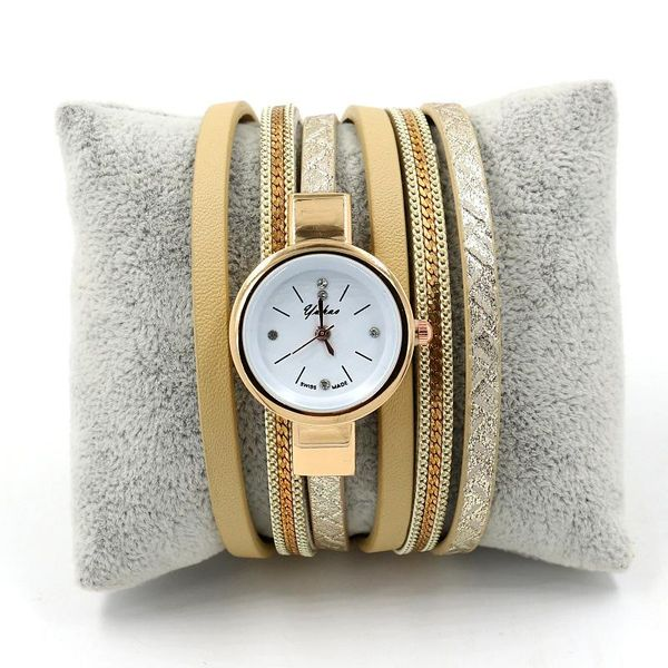 Fashion watch female multi-layer PU leather wrap watch alloy small dial quartz watch bracelet NHHM194417