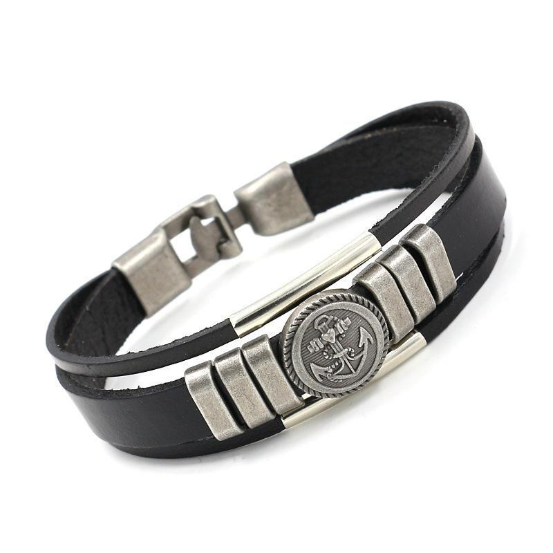 Vintage anchor leather bracelet fashion punk leather bracelet NHHM194418