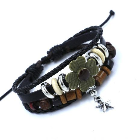 Multi-layer woven small flower beaded leather bracelet female new bracelet star pendant student bracelet fashion NHHM194420's discount tags