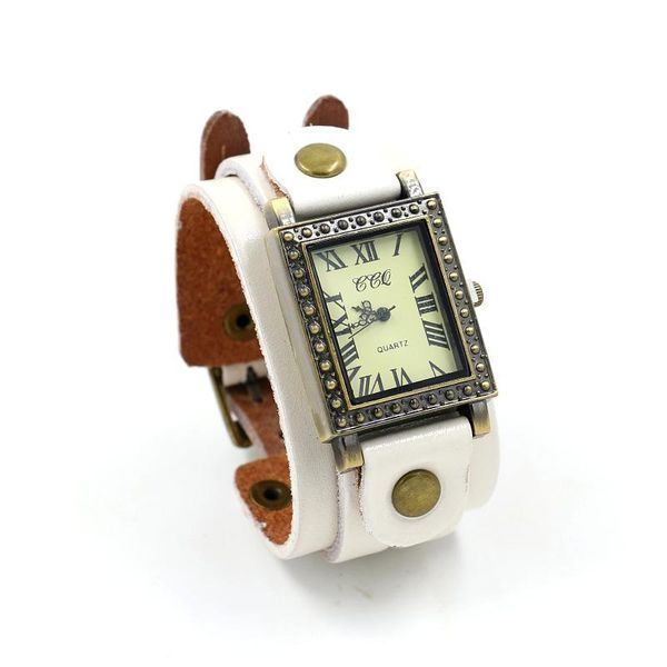New leather watch men and women retro square dial wide leather bracelet watch NHHM194430