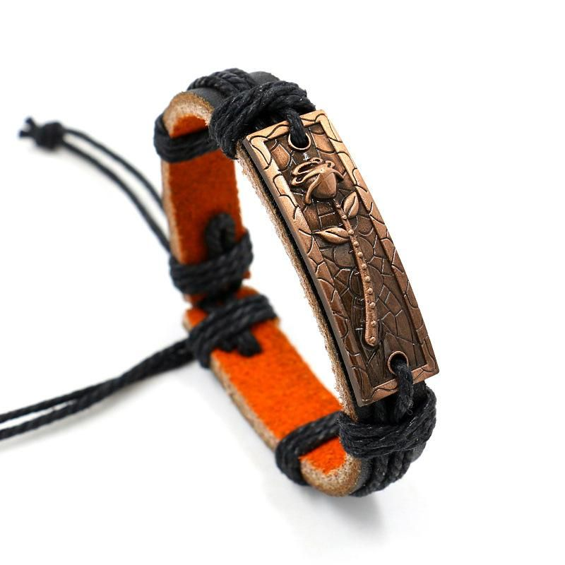 Vintage alloy rose leather bracelet men and women leather bracelet jewelry NHHM194431