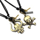 Vintage alloy skull pendant leather necklace handmade knitted sweater chain long adjustable neck chain NHHM194437