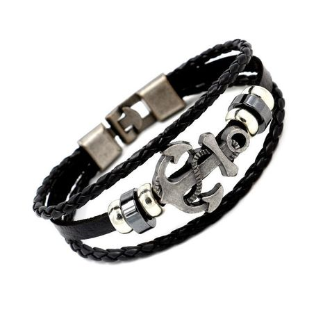 Jewellery alloy anchor leather bracelet punk new leather bracelet NHHM194454's discount tags