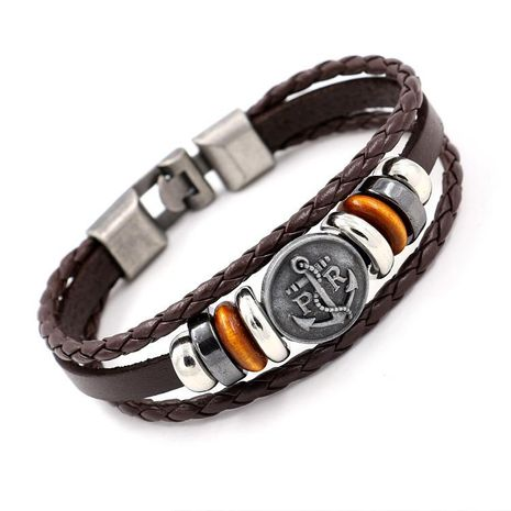Vintage PR Anchor Leather Bracelet Fashion Button Multi-layer Buckle Bracelet Charm Bracelets NHHM194458's discount tags