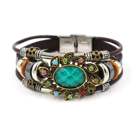 Jewelry wholesale fashion retro new ladies bracelet leather bracelet green gem bracelet NHHM194461's discount tags