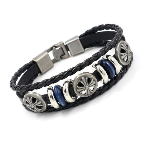 Leather Bracelet Men's Alloy Rivets Beaded Bracelets Casual Fashion Jewelry Wholesale NHHM194466's discount tags