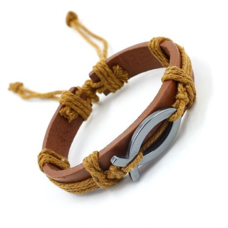 Leather bracelet jewelry obsidian leather bracelet jewelry wholesale NHHM194471's discount tags