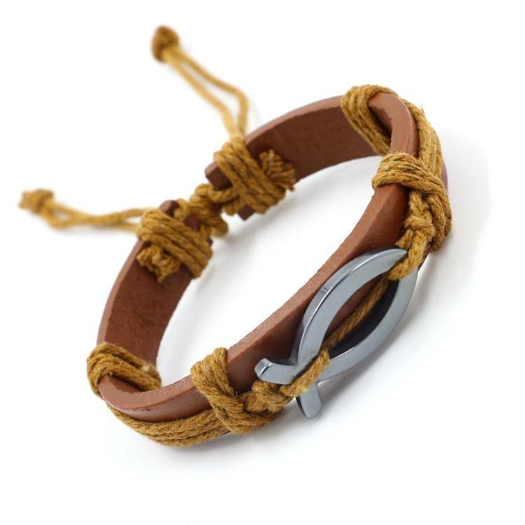 Leather bracelet jewelry obsidian leather bracelet jewelry wholesale NHHM194471