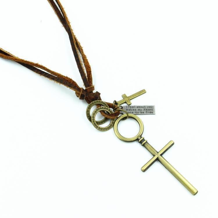 Men39s Bronze Cross Pendant Leather Necklace NHHM194477