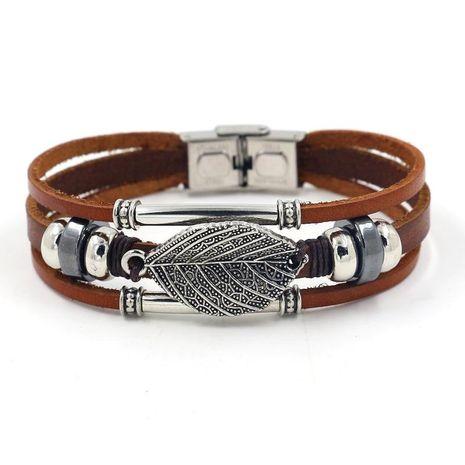 Feuille Bracelet en cuir perlé multicouche Cuir marron Boucle en acier inoxydable Bracelet de feuille de mode NHHM194478's discount tags
