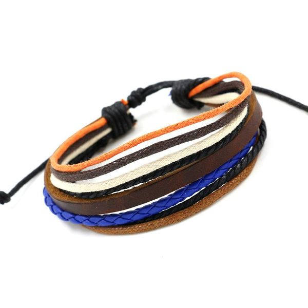 Color multi-layer woven leather bracelet handmade casual simple men and women leather bracelet wholesale NHHM194480