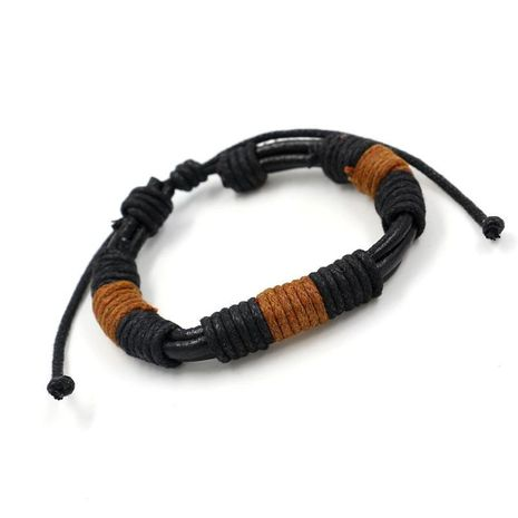 Vintage tied rope pull men and women bracelets hand-woven leather bracelet casual bracelet leather cowhide bracelet NHHM194482's discount tags