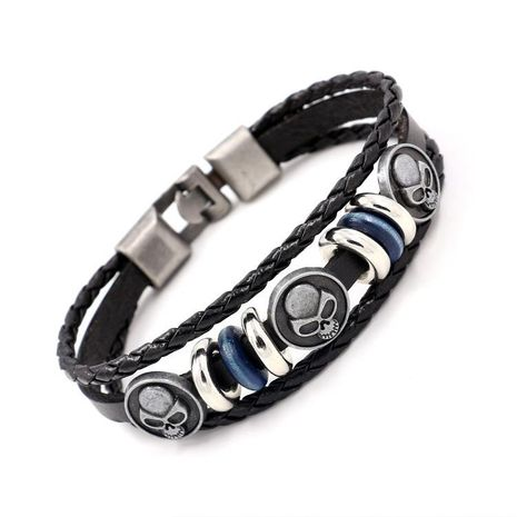 New Men's Bracelet Alloy Skull Leather Bracelet Hand Beaded Woven Bracelet NHHM194483's discount tags
