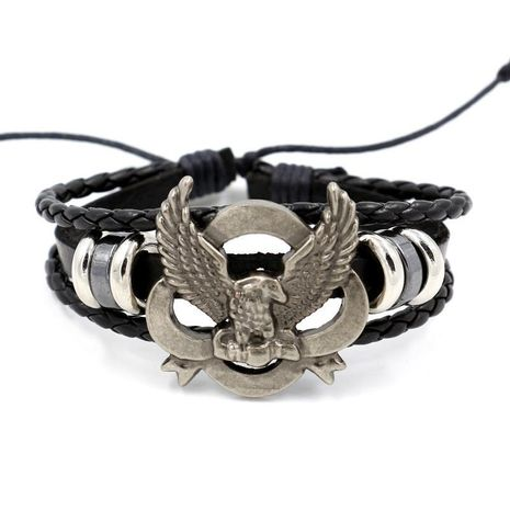 Fashion Men's Bracelet Hand Woven Eagle Leather Bracelet Punk Bangle Jewelry NHHM194484's discount tags
