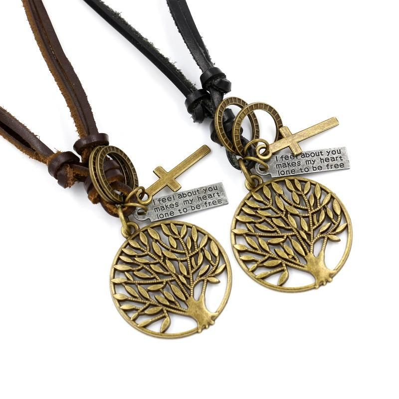 Leather rope woven necklace long sweater chain wholesale retro tree pendant fashion ornaments accessories NHHM194491