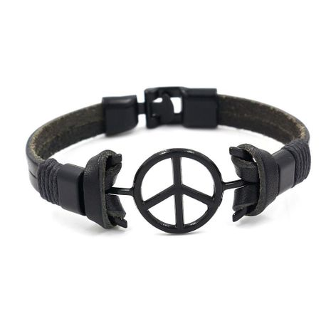 Vintage black peace sign leather bracelet for men NHHM194494's discount tags
